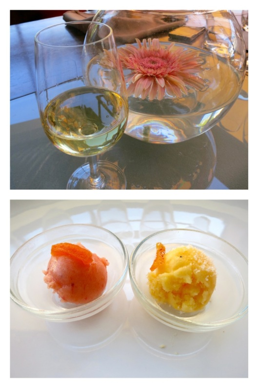 Torrontés and strawberry and peach sorbet from Persicco