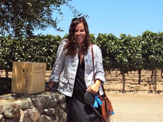 With our precious case of vino at Pulenta Estate winery in Mendoza.