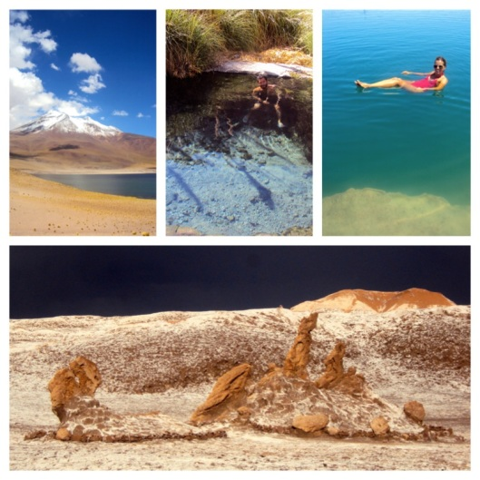 Clockwise from top left: Laguna Miscanti with Miñiques Volcano in the background; Gaspar in the crystal clear water at the Puritama Hot Springs; floating in Laguna Cejar, a lake in the Atacama salt flat with a high salt concentration; Las Tres Marias in the Valley of the Moon