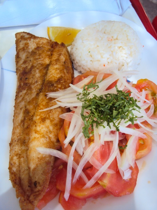 Fried Reineta with Ensalada Chilena