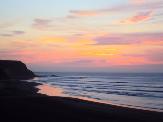 Sunset in Chicama, home of the world's longest left-breaking wave.